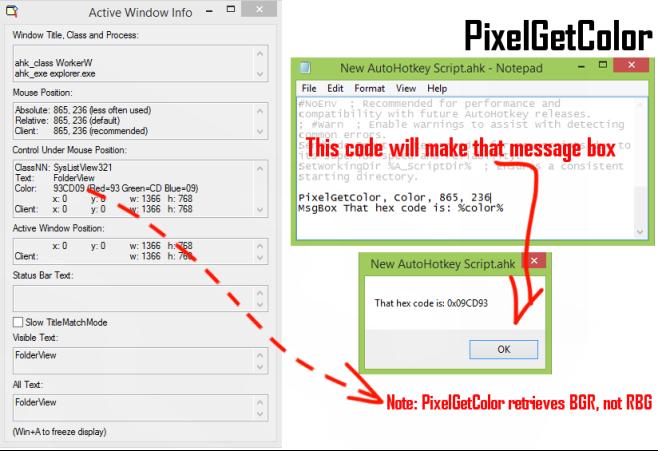 PixelGetColor