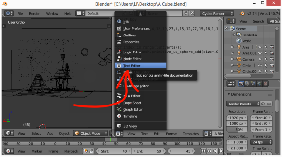 Oh. Blender has a text editor.