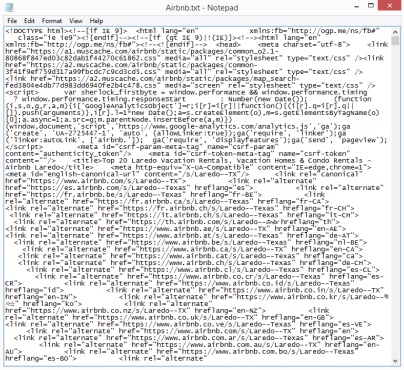 Airbnb search results in HTML. It's not pretty.
